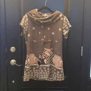 Super cute and sweet owl tunic sweater